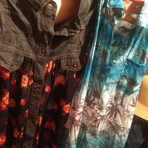 Pair of sheer button down tops Selena Gomez